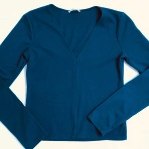 Zara V-neck Long Sleeve Shirt Dark Teal Blue Sz M